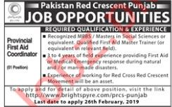 Pakistan Red Crescent Punjab NGO Job 2019 in Lahore