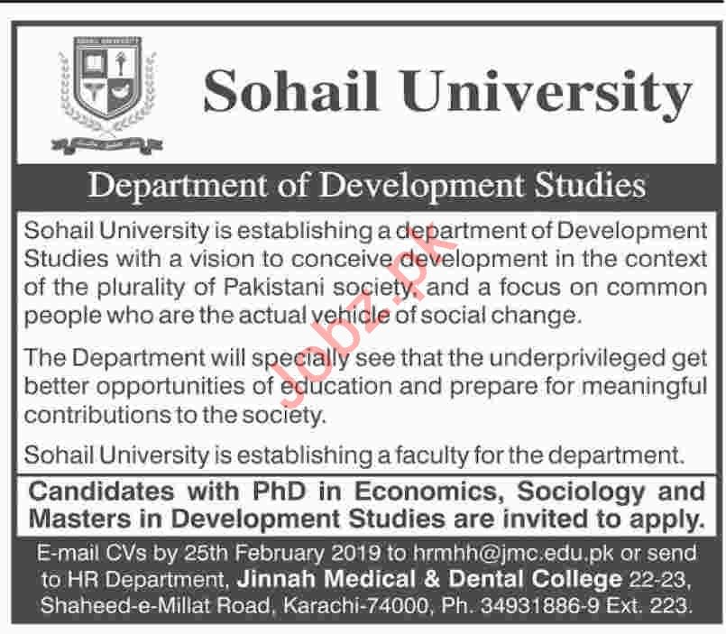 Economics Professor Jobs at Sohail University