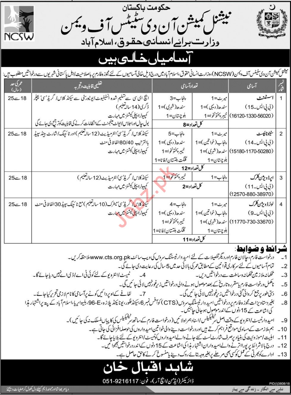 National Commission on the Status of Women NCSW Jobs 2019