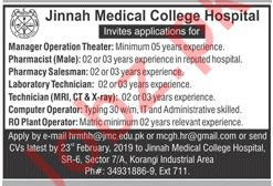 Jinnah Medical College Hospital Jobs 2019 in Karachi