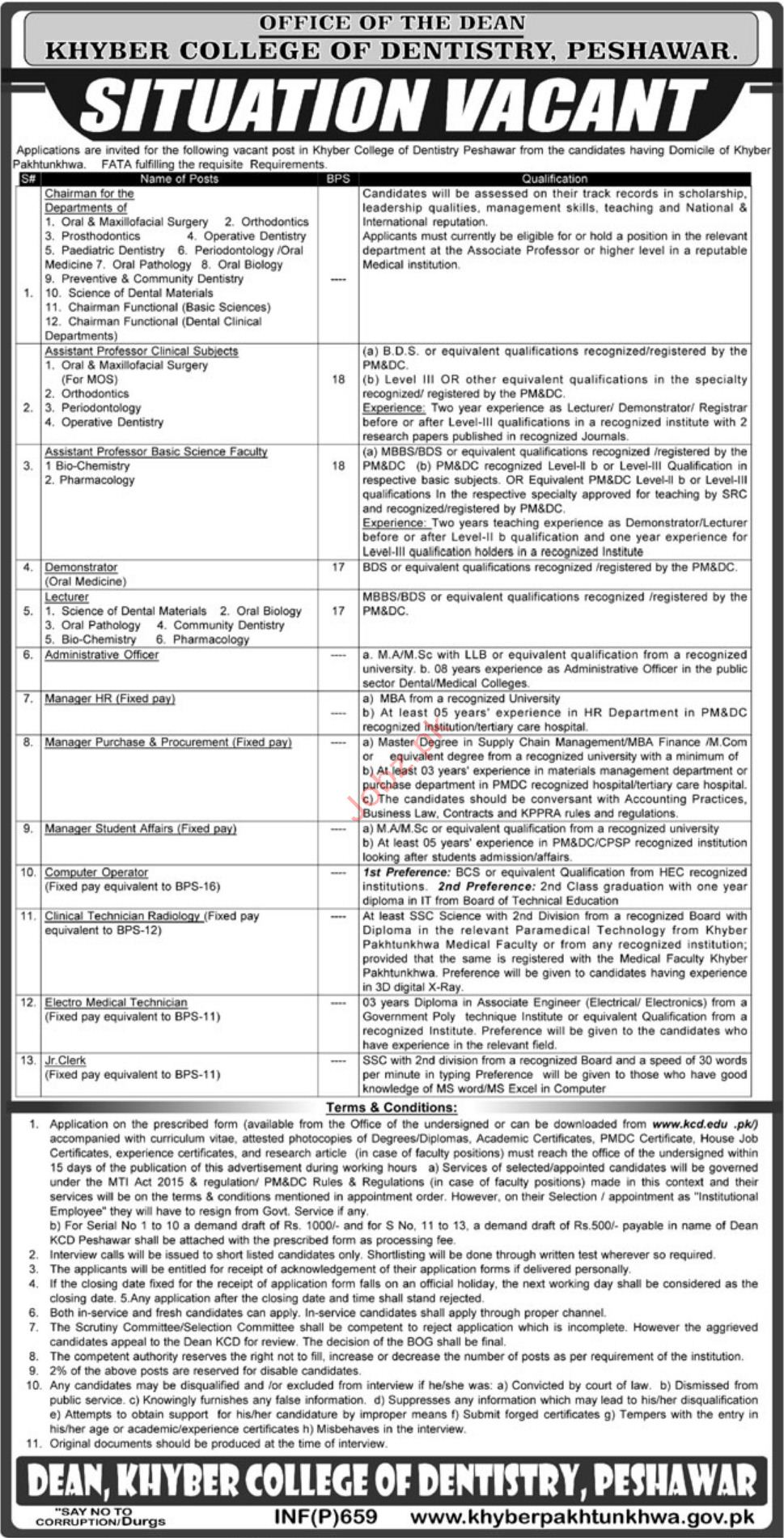 Khyber College of Dentistry Teaching Staff Jobs 2019