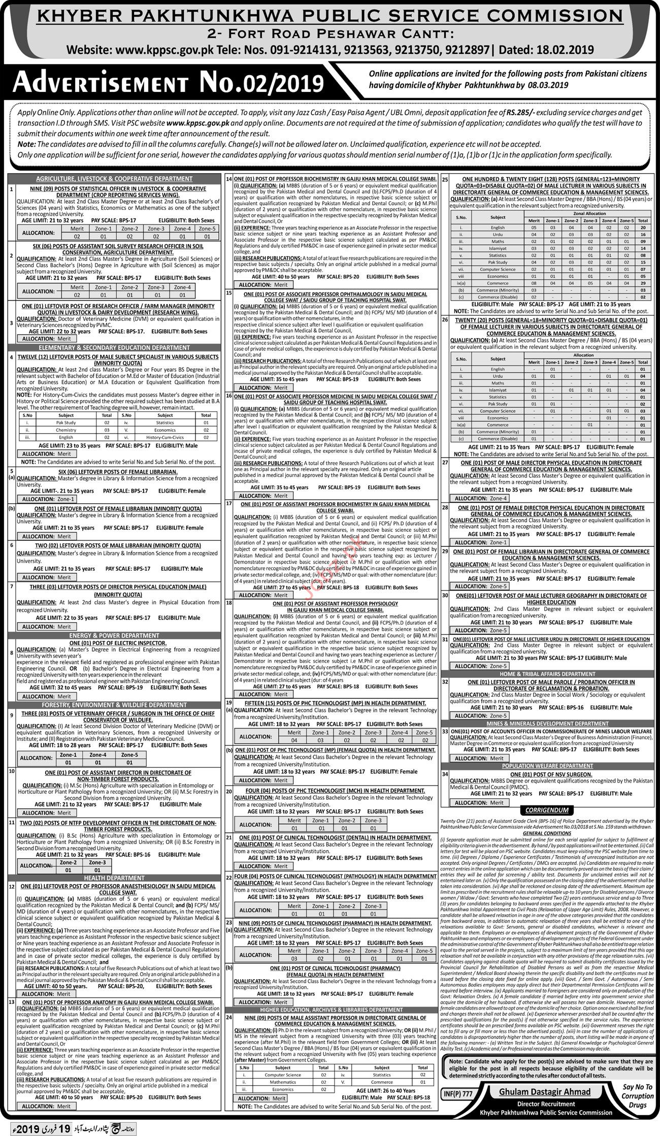 Khyber Pakhtunkhwa Public Service Commission KPPSC Jobs 2019
