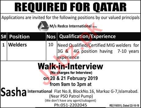 Welders Jobs Career Opportunity in Qatar