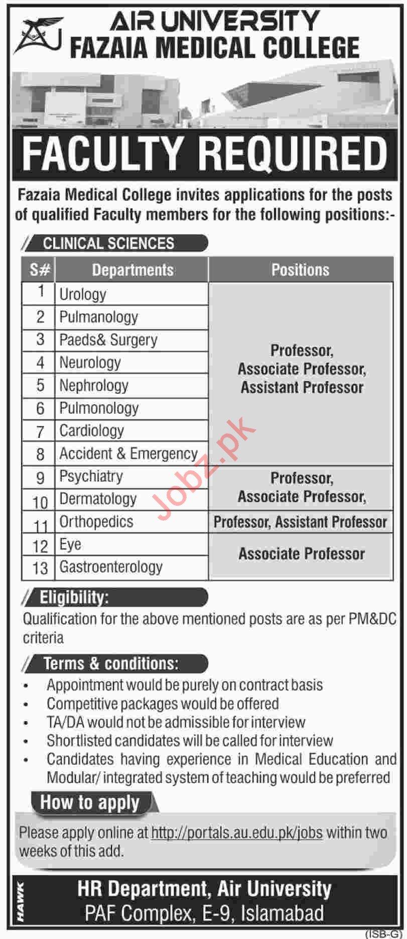 Fazaia Medical College FMC Islamabad Jobs 2019 for Professor
