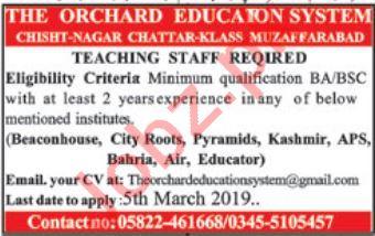 The Orchard Education System Muzaffarabad Jobs 2019