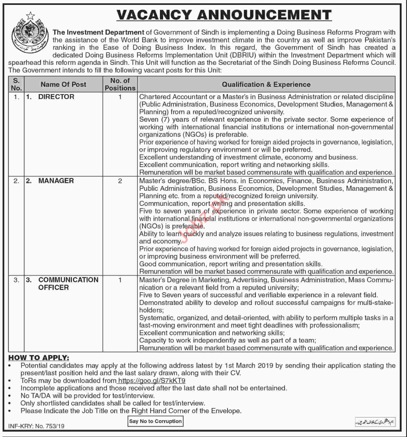 Sindh Board of Investment Jobs for Managers & Directors