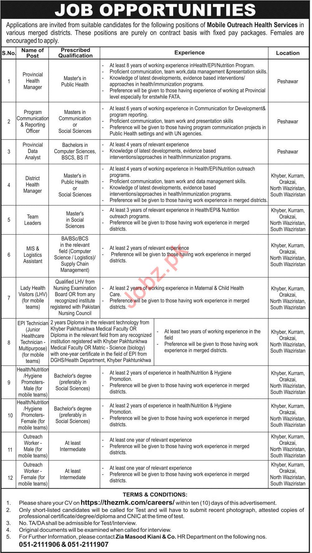 Zia Masood Kiani & Company Jobs 2019