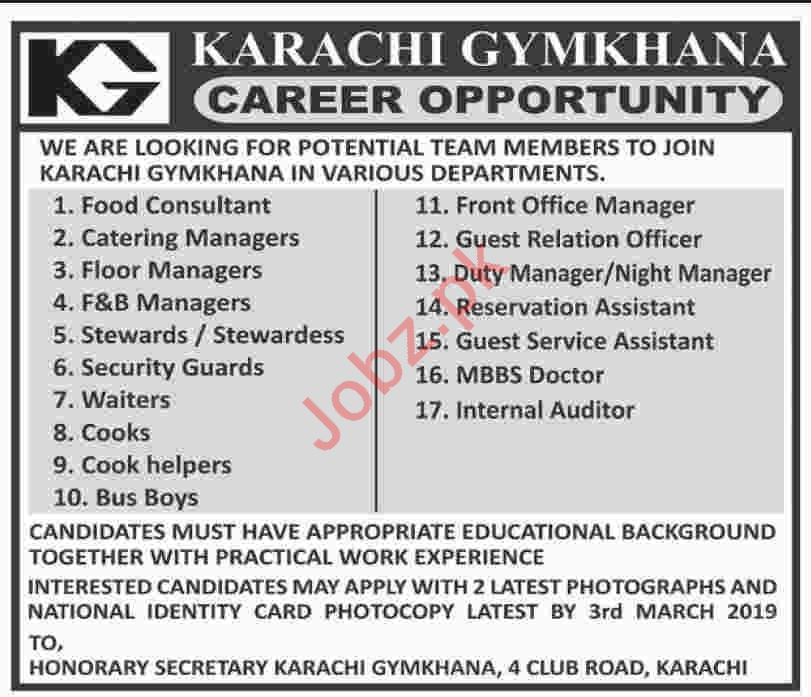 Food Consultant Jobs at Karachi Gynkhana