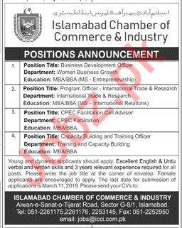 Islamabad Chamber of Commerce & Industry ICCI Jobs 2019