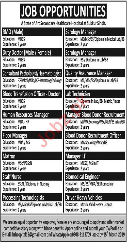 Hospital Jobs 2019 in Sukkur