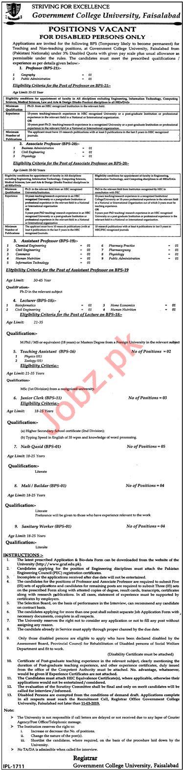 Govt College University Faisalabad GCUF Professors Jobs 2019