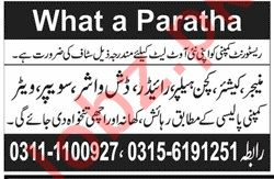 What a Paratha Lahore Jobs 2019 for Manager & Cashier