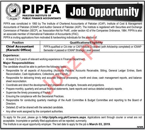 Pakistan Institute of Public Finance Accountants PIPFA Jobs
