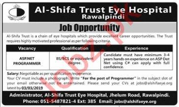 Al Shifa Trust Eye Hospital Rawalpindi Programmer Jobs 2019