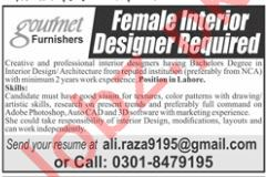 Gourmet Furnishers Lahore Jobs 2019 for Interior Designer
