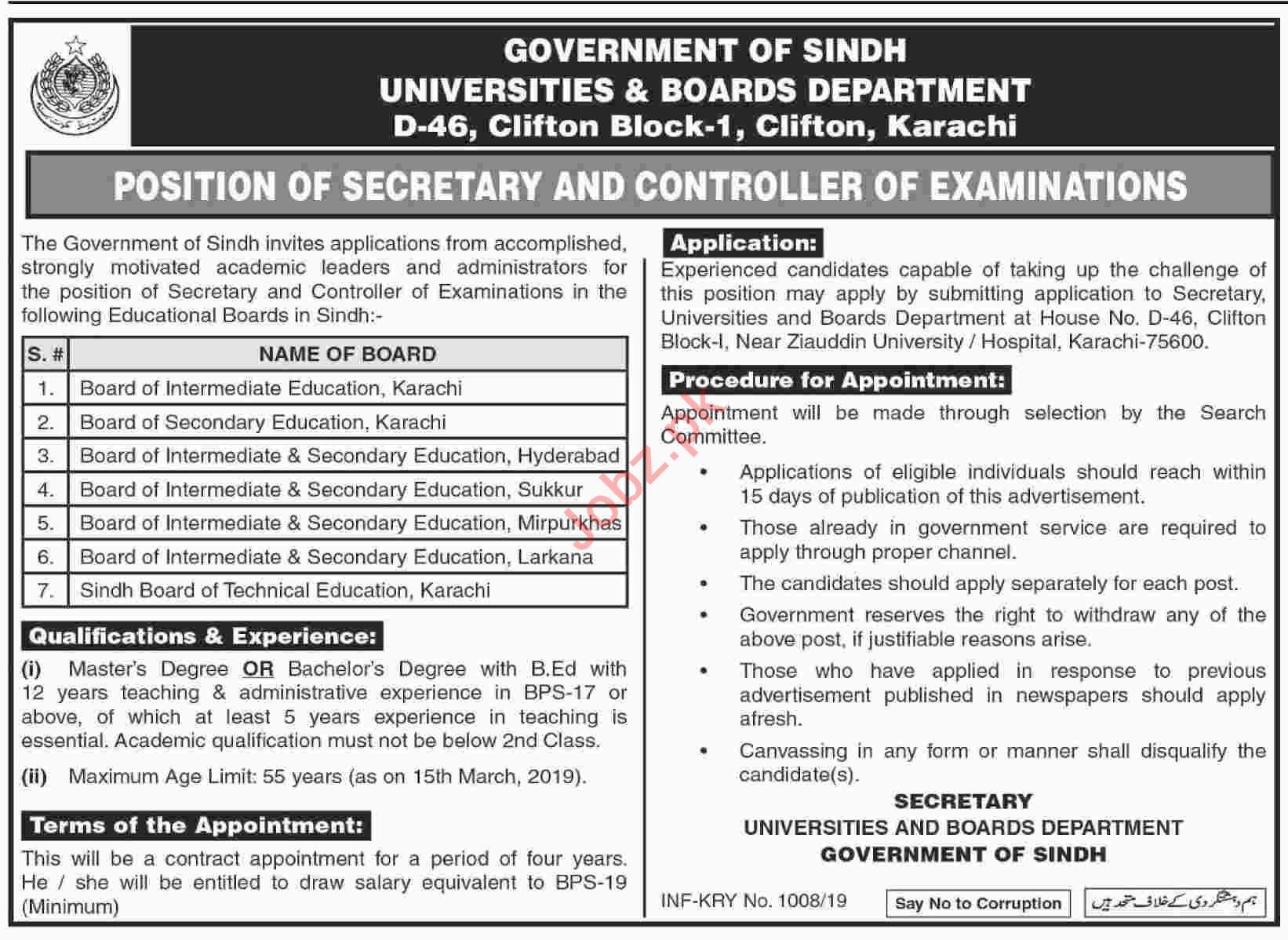 Universities & Boards Department Sindh Jobs 2019