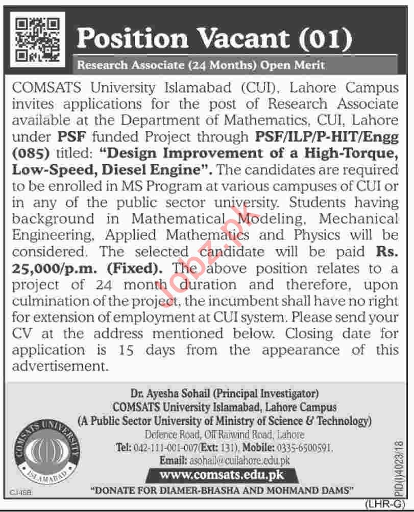 COMSATS University CUI Lahore Research Associate Jobs 2019