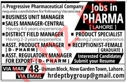 Business Unit Manager Jobs in Pharmaceutical Company