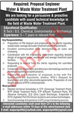 Water & Waste Water Treatment Plant Lahore Jobs 2019