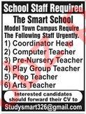 The Smart School Teaching Staff Jobs 2019