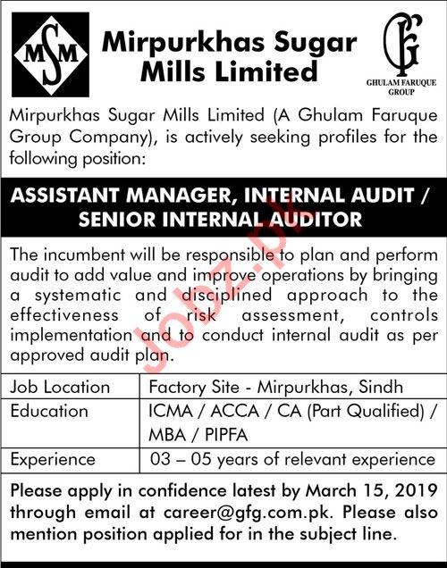 Mirpurkhas Sugar Mills Limited Jobs 2019