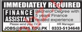 BIMS Institute Rawalpindi Jobs 2019 for Finance Assistant
