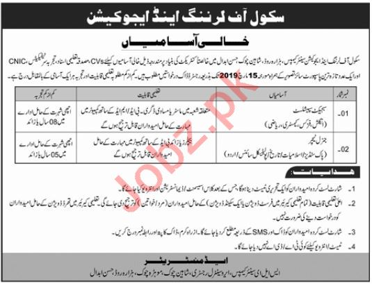 School of Learning & Education Hassan Abdal Jobs 2019