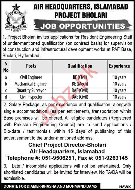 Air Headquarters PAF Technical Jobs 2019 in Hyderabad