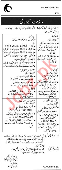 ICI Pakistan Limited Khewra Jobs 2019 for Plant Operator