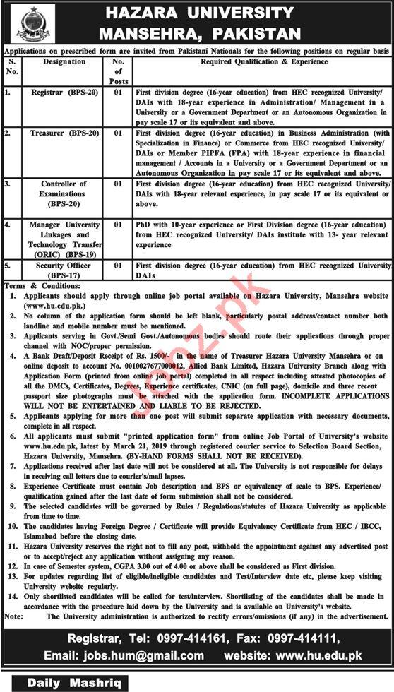Hazara University Mansehra Jobs for Registrar & Treasurer