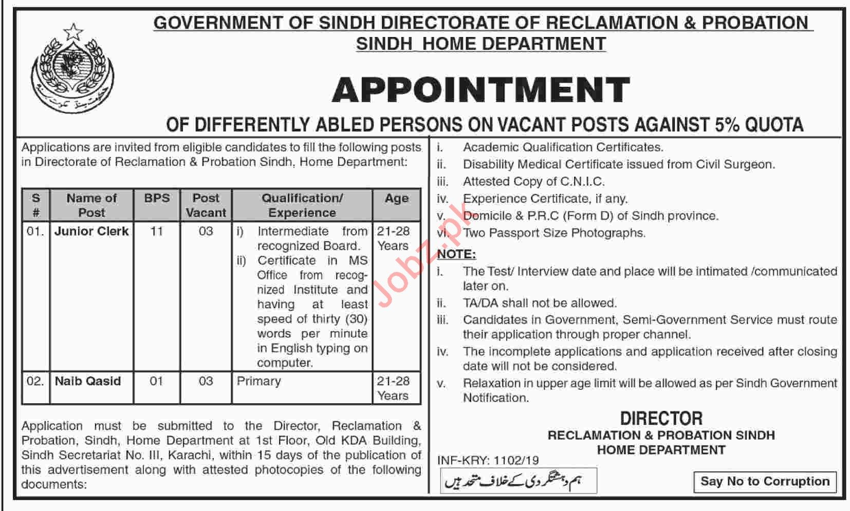 Directorate of Reclamation & Probation Sindh Jobs 2019