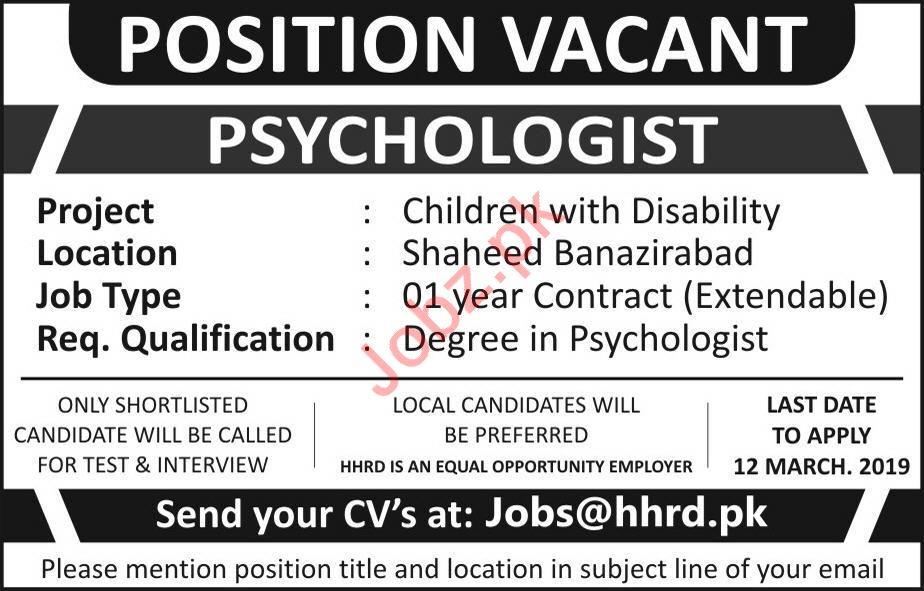 Psychologist Job 2019 in Shaheed Benazirabad