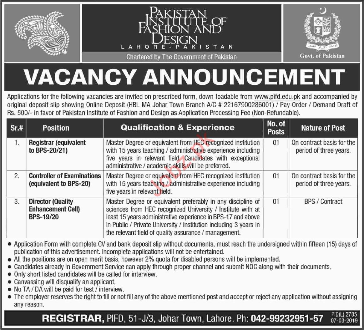 Pakistan Institute of Fashion & Design Jobs 2019 in Lahore