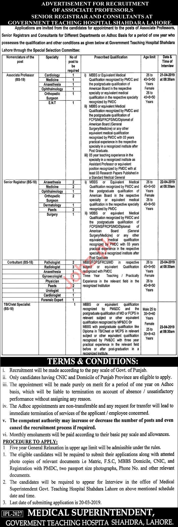 Government Teaching Hospital Shahdara Professor Jobs 20149