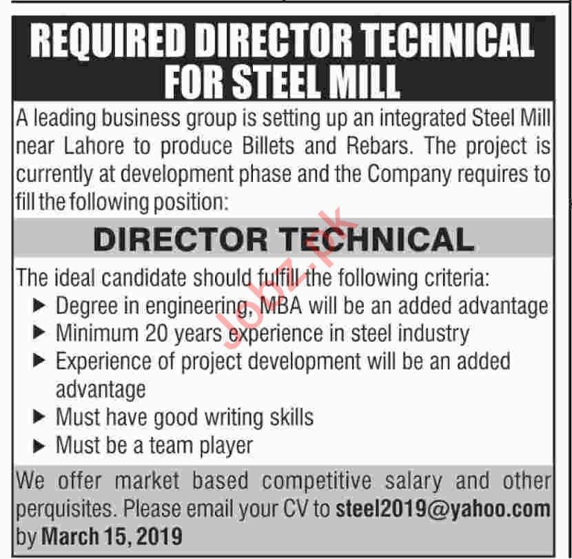Director Technical Jobs 2019 in Steel Mill