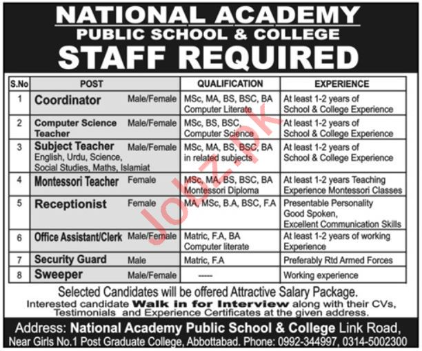 National Academy Public School & College Teaching Staff Jobs
