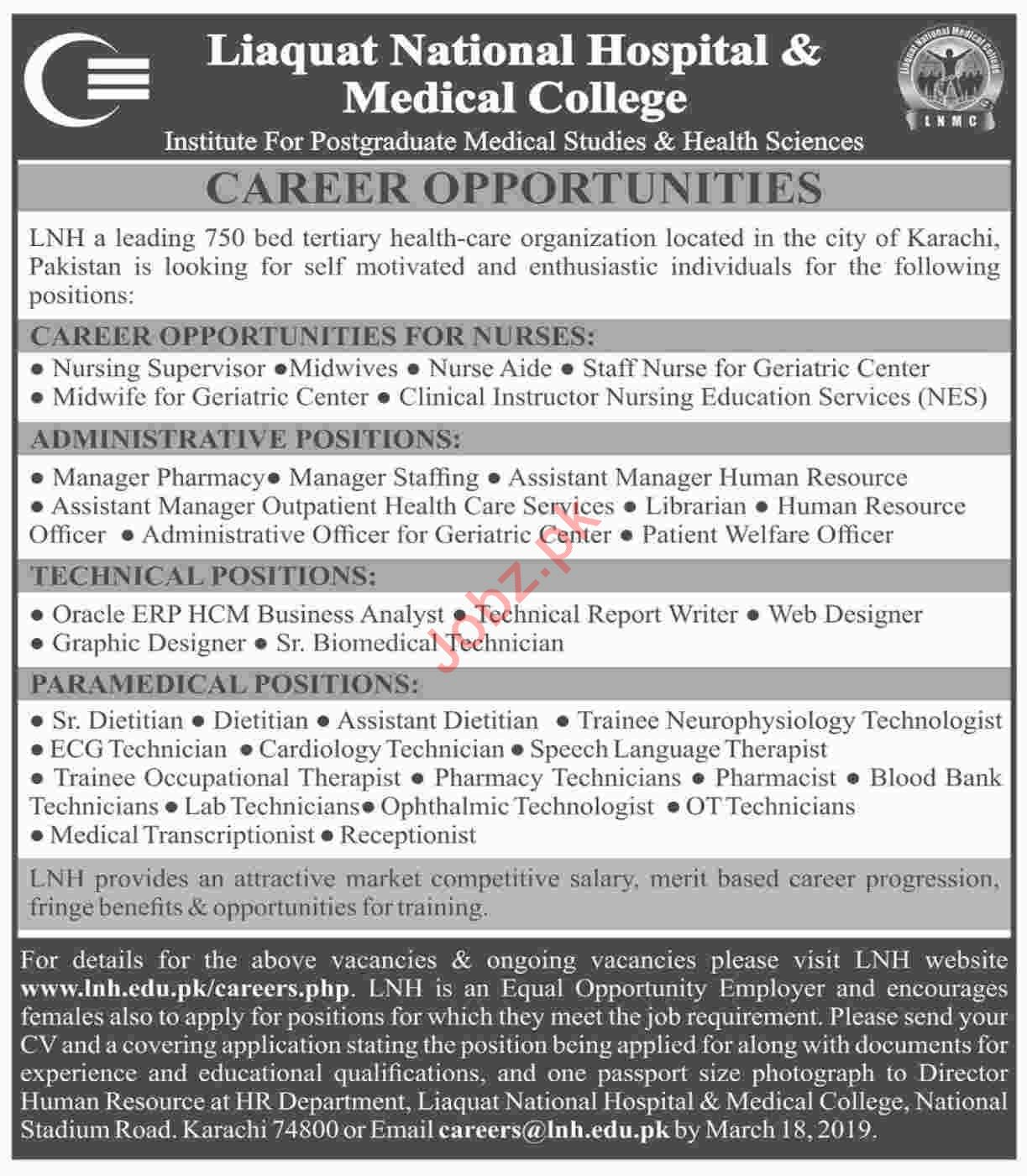 Liaquat National Hospital & Medical College Jobs 2019