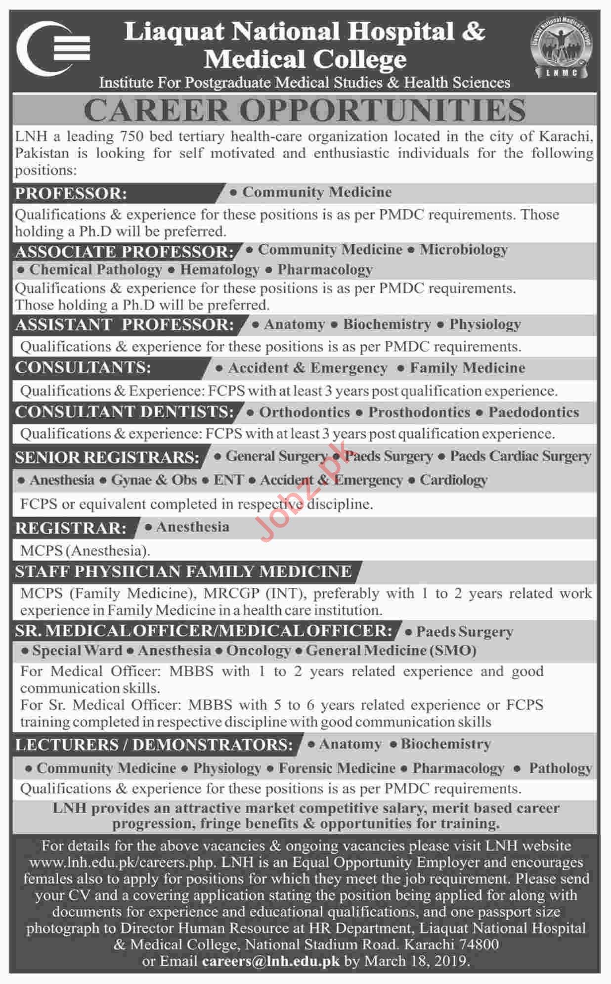 Liaquat National Hospital & Medical College Professor Jobs