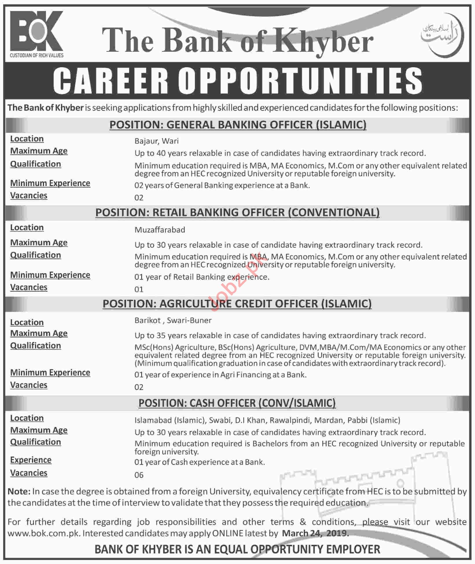 The Bank of khyber Management Staff Jobs 2019