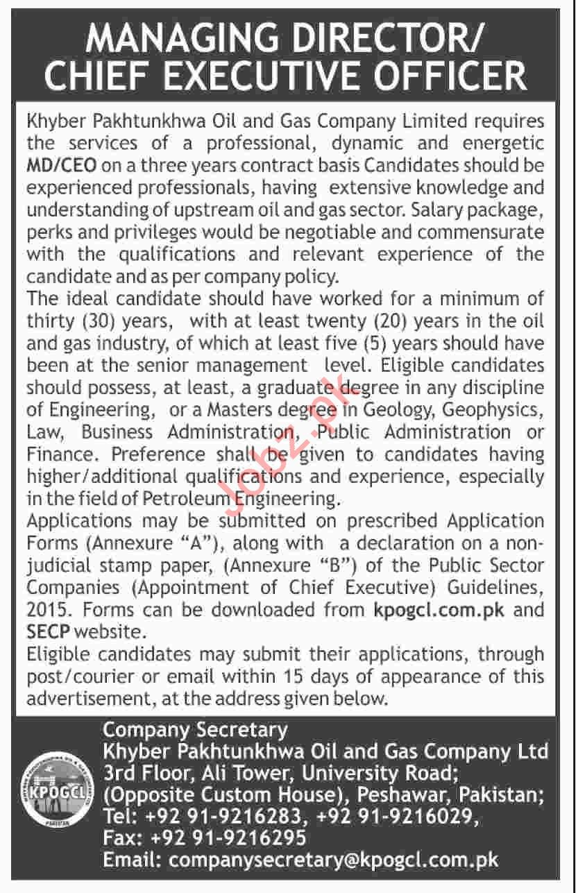 Chief Executive Officer Jobs in KPK Oil & Gass Company