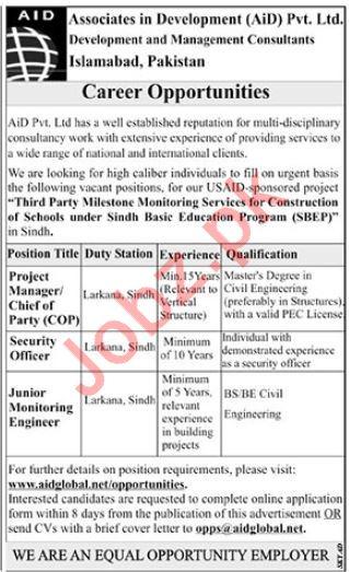 Associates in Development AiD Pvt Ltd Jobs 2019 in Larkana