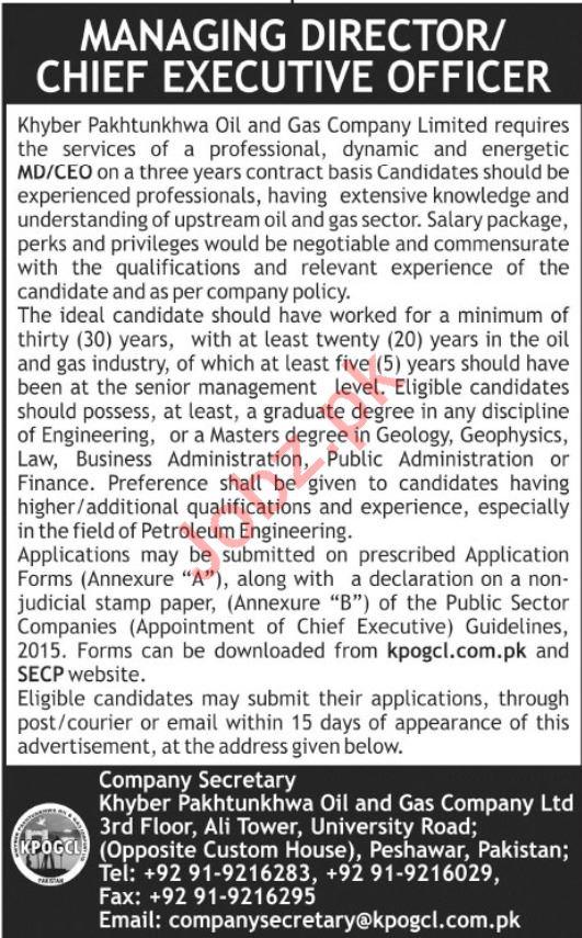 KPK Oil & Gass Company Chief Executive Officer Jobs 2019