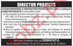 Director Projects Jobs 2019 in Lahore
