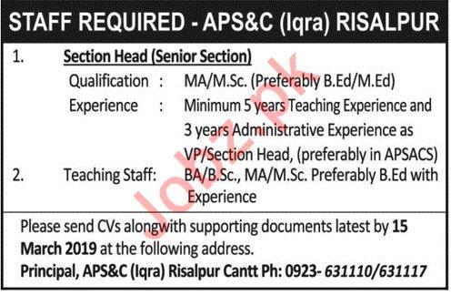 Army Public School & College Jobs 2019 in Rawalpindi