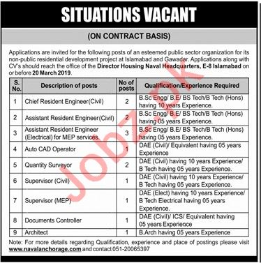 Naval Anchorage Islamabad Jobs 2019 for Engineers