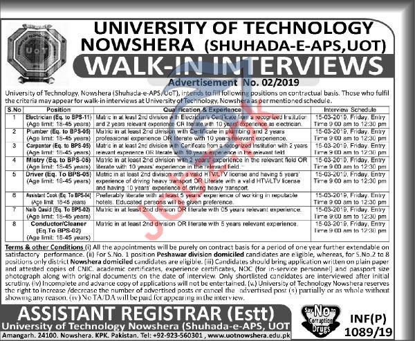 University Technology Nowshera Jobs 2019
