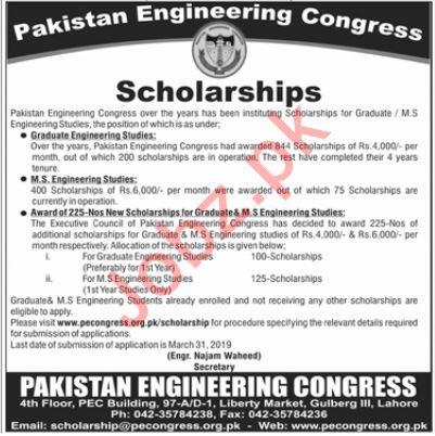Pakistan Engineering Congress Scholarships 2019