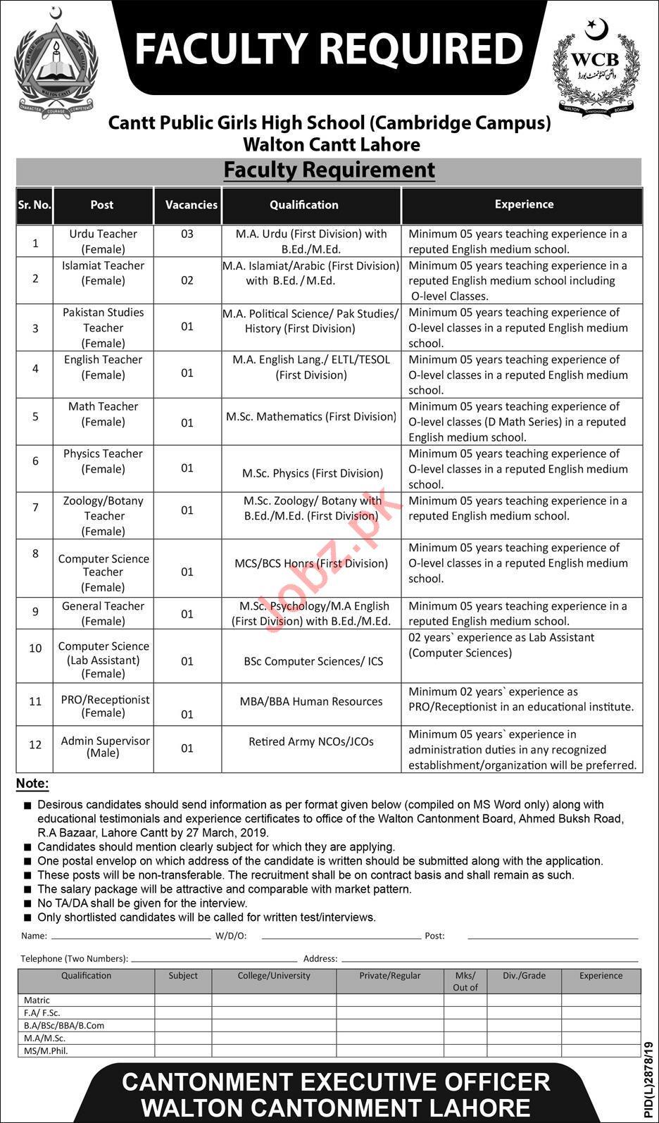 Cantt Public Girls High School Cambridge Campus Lahore Jobs