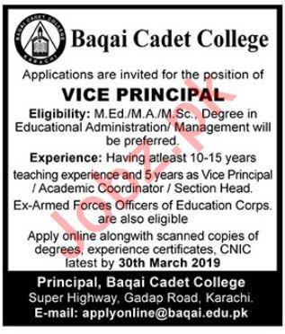Baqai Cadet College Vice Principal Jobs 2019
