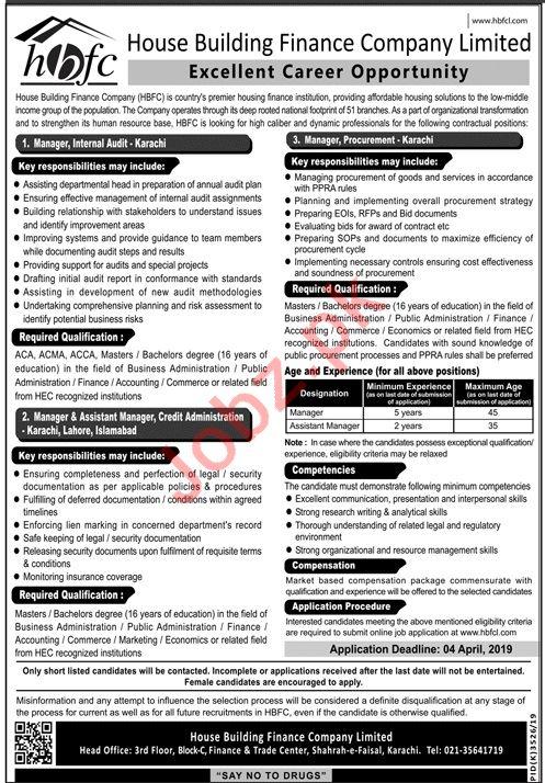 House Building Finance Company Limited HBFC Karachi Jobs